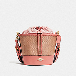 STRAW BUCKET BAG - F72707 - NATURAL LIGHT CORAL/GOLD