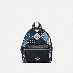 MINI CHARLIE BACKPACK WITH AMERICANA PATCHWORK - F72771 - SILVER/DENIM/MULTI