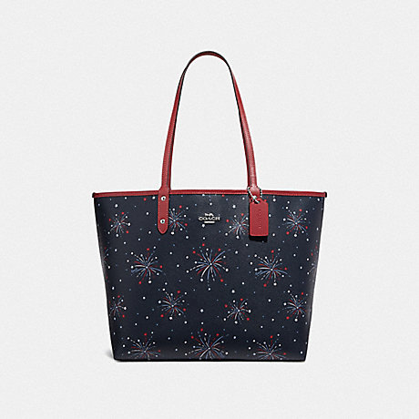 COACH F72772 REVERSIBLE CITY TOTE WITH FIREWORKS PRINT SILVER/NAVY MULTI/WASHED RED