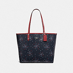 COACH F72772 - REVERSIBLE CITY TOTE WITH FIREWORKS PRINT SILVER/NAVY MULTI/WASHED RED