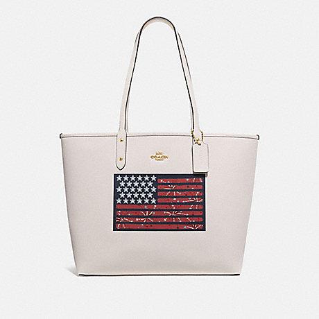 COACH F72773 REVERSIBLE CITY TOTE WITH AMERICANA FLAG MOTIF GOLD/CHALK MULTI/DENIM