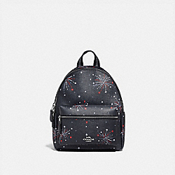 COACH F72774 - MINI CHARLIE BACKPACK WITH FIREWORKS PRINT SILVER/NAVY MULTI