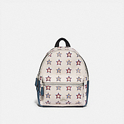 MINI CHARLIE BACKPACK WITH WESTERN STAR PRINT - F72775 - SILVER/CHALK MULTI