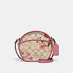 CANTEEN CROSSBODY IN SIGNATURE CANVAS WITH LILY PRINT - F72803 - LIGHT KHAKI/PINK MULTI/GOLD