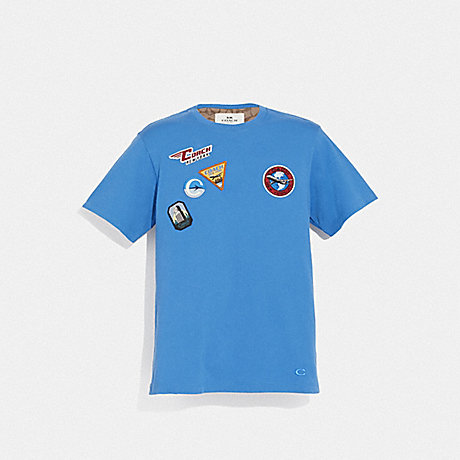 COACH F72813 TRAVEL PATCH T-SHIRT VINTAGE BLUE