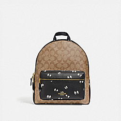 DISNEY X COACH MEDIUM CHARLIE BACKPACK IN SIGNATURE CANVAS WITH SNOW WHITE AND THE SEVEN DWARFS EYES PRINT - F72816 - KHAKI/MULTI/GOLD