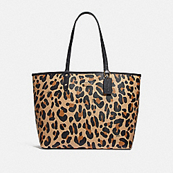 REVERSIBLE CITY TOTE WITH ANIMAL PRINT - F72828 - NATURAL/BLACK/GOLD