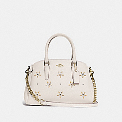 MINI SAGE CARRYALL WITH ALLOVER STUDS - F72833 - CHALK/GOLD