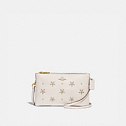 LYLA CROSSBODY WITH ALLOVER STUDS - F72836 - CHALK/GOLD