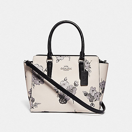 COACH F72837 LEAH SATCHEL WITH FAIRY TALE FLORAL PRINT SILVER/CHALK MULTI