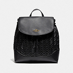ELLE BACKPACK WITH QUILTING - F72842 - BLACK/IMITATION GOLD