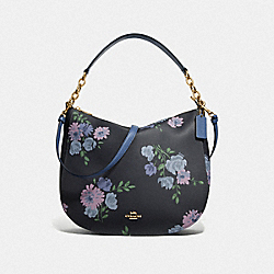 ELLE HOBO WITH PAINTED PEONY PRINT - F72843 - NAVY MULTI/IMITATION GOLD