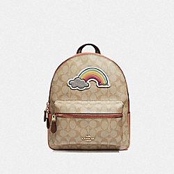 MEDIUM CHARLIE BACKPACK IN SIGNATURE CANVAS WITH RAINBOW MOTIF - F72846 - LIGHT KHAKI/MULTI/GOLD