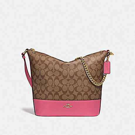 COACH F72852 PAXTON DUFFLE IN SIGNATURE CANVAS KHAKI/PINK RUBY/GOLD