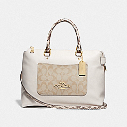 EMMA SATCHEL WITH SIGNATURE CANVAS DETAIL - F72853 - LIGHT KHAKI/CHALK/GOLD