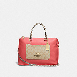 COACH F72853 - EMMA SATCHEL WITH SIGNATURE CANVAS DETAIL LIGHT KHAKI/CORAL/GOLD