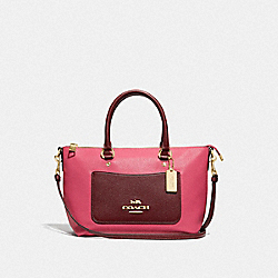 MINI EMMA SATCHEL IN COLORBLOCK - F72855 - PINK RUBY/GOLD