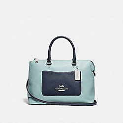 EMMA SATCHEL IN COLORBLOCK - F72856 - SEAFOAM/MULTI/SILVER