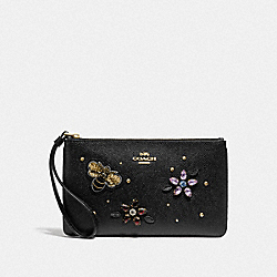 LARGE WRISTLET WITH GEMSTONES - F72884 - BLACK/GOLD