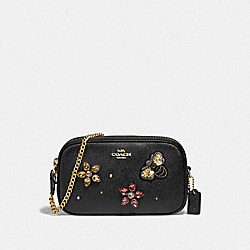 CROSSBODY POUCH WITH GEMSTONES - F72887 - BLACK/GOLD