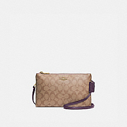 LYLA CROSSBODY IN COLORBLOCK SIGNATURE CANVAS - F72890 - TULIP/KHAKI/GOLD