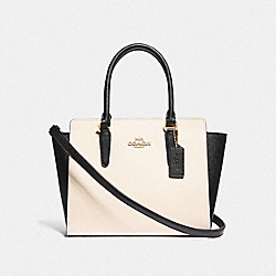 LEAH SATCHEL IN COLORBLOCK - F72891 - GOLD/CHALK/BLACK
