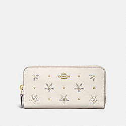 COACH F72892 Accordion Zip Wallet With Allover Studs CHALK/GOLD