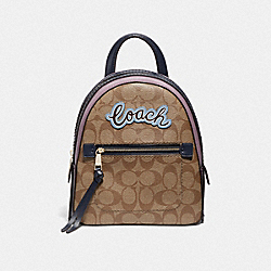 ANDI BACKPACK IN SIGNATURE CANVAS WITH COACH PRINT - F72895 - KHAKI MULTI /IMITATION GOLD
