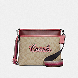 FILE CROSSBODY IN SIGNATURE CANVAS WITH COACH PRINT - F72896 - LIGHT KHAKI MULTI/SILVER