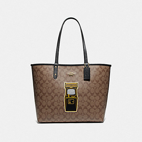 COACH F72899 REVERSIBLE CITY TOTE IN SIGNATURE CANVAS WITH PAC-MAN GAME KHAKI MULTI/BLACK/GOLD
