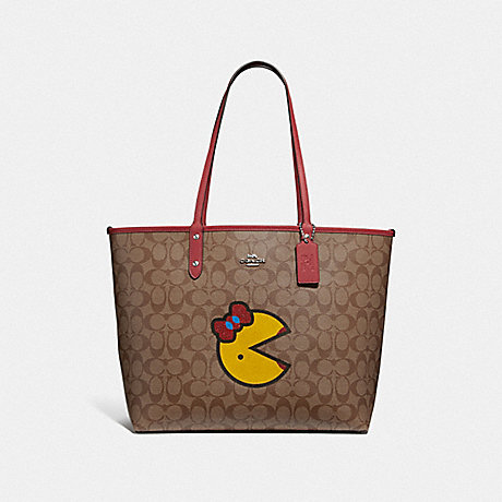 COACH F72900 REVERSIBLE CITY TOTE IN SIGNATURE CANVAS WITH MS. PAC-MAN KHAKI MULTI/WASHED RED/SILVER