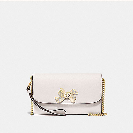 COACH CHAIN CROSSBODY WITH BOW TURNLOCK - CHALK/GOLD - F72903