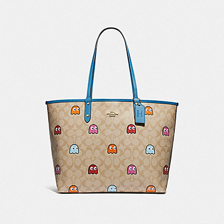 COACH F72905 REVERSIBLE CITY TOTE IN SIGNATURE CANVAS WITH PAC-MAN GHOSTS PRINT LIGHT KHAKI MULTI/RIVER/GOLD