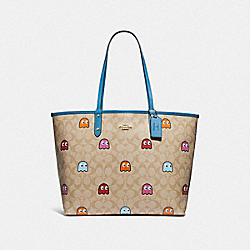 REVERSIBLE CITY TOTE IN SIGNATURE CANVAS WITH PAC-MAN GHOSTS PRINT - F72905 - LIGHT KHAKI MULTI/RIVER/GOLD