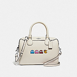 MINI BENNETT SATCHEL WITH PAC-MAN ANIMATION - F72907 - CHALK MULTI/SILVER