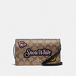 DISNEY X COACH HAYDEN FOLDOVER CROSSBODY CLUTCH IN SIGNATURE CANVAS WITH SNOW WHITE - F72908 - KHAKI/MULTI/GOLD