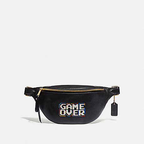 COACH F72909 BELT BAG IN REFINED PEBBLE LEATHER WITH PAC-MAN GAME OVER BLACK/MULTI/GOLD
