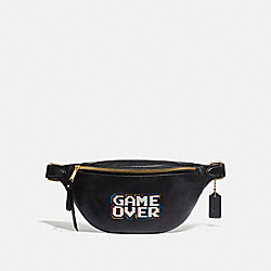 BELT BAG IN REFINED PEBBLE LEATHER WITH PAC-MAN GAME OVER - F72909 - BLACK/MULTI/GOLD