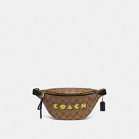 COACH F72910 BELT BAG IN SIGNATURE CANVAS WITH PAC-MAN COACH PRINT KHAKI MULTI /GOLD