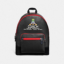 WEST BACKPACK WITH ATARI COACH MOTIF - F72914 - BLACK MULTI/BLACK ANTIQUE NICKEL