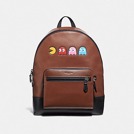 COACH F72915 WEST BACKPACK IN REFINED CALF LEATHER WITH PAC-MAN MOTIF SADDLE/BLACK ANTIQUE NICKEL