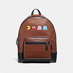 WEST BACKPACK IN REFINED CALF LEATHER WITH PAC-MAN MOTIF - F72915 - SADDLE/BLACK ANTIQUE NICKEL