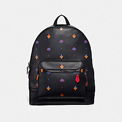 WEST BACKPACK WITH ALLOVER ATARI PRINT - F72916 - BLACK MULTI/BLACK ANTIQUE NICKEL