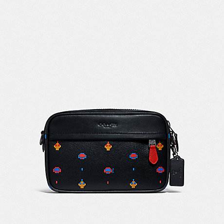 COACH F72919 GRAHAM CROSSBODY WITH ALLOVER ATARI PRINT BLACK MULTI/BLACK ANTIQUE NICKEL