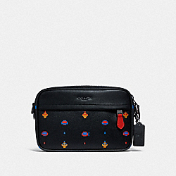 GRAHAM CROSSBODY WITH ALLOVER ATARI PRINT - F72919 - BLACK MULTI/BLACK ANTIQUE NICKEL