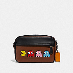 GRAHAM CROSSBODY WITH PAC-MAN MOTIF - F72921 - SADDLE/BLACK ANTIQUE NICKEL
