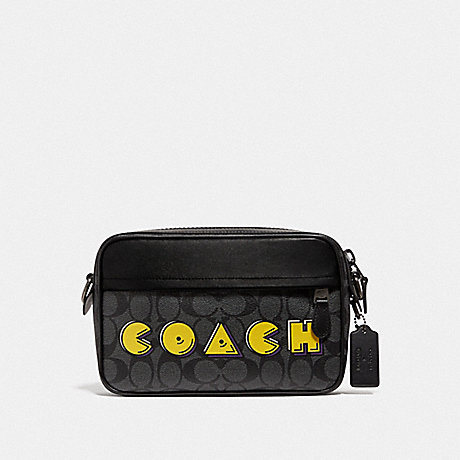 COACH F72923 GRAHAM CROSSBODY IN SIGNATURE CANVAS WITH PAC-MAN COACH PRINT CHARCOAL/BLACK/BLACK ANTIQUE NICKEL