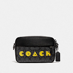 GRAHAM CROSSBODY IN SIGNATURE CANVAS WITH PAC-MAN COACH PRINT - F72923 - CHARCOAL/BLACK/BLACK ANTIQUE NICKEL