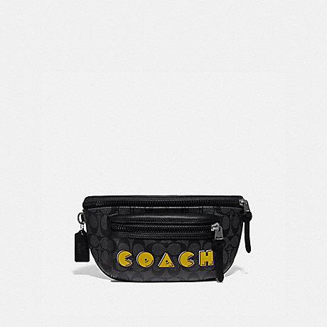 COACH F72924 TERRAIN BELT BAG IN SIGNATURE CANVAS WITH PAC-MAN COACH SCRIPT CHARCOAL/BLACK/BLACK ANTIQUE NICKEL