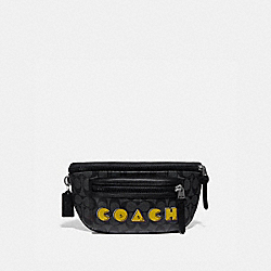 TERRAIN BELT BAG IN SIGNATURE CANVAS WITH PAC-MAN COACH SCRIPT - F72924 - CHARCOAL/BLACK/BLACK ANTIQUE NICKEL
